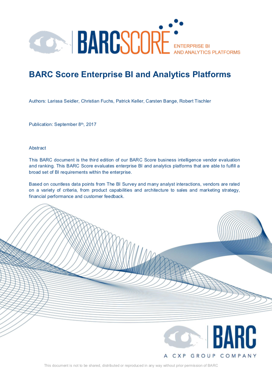 BARC Score for Enterprise BI and Analytics Platforms 2018