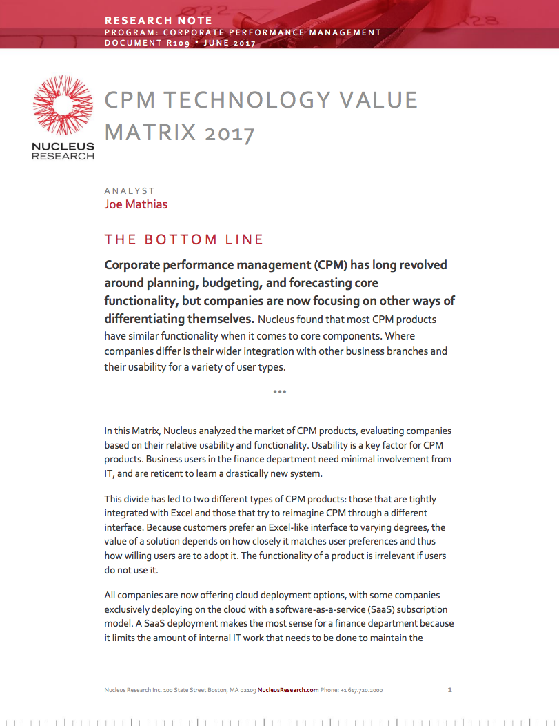Nucleus Research CPM Technology Value Matrix 2017