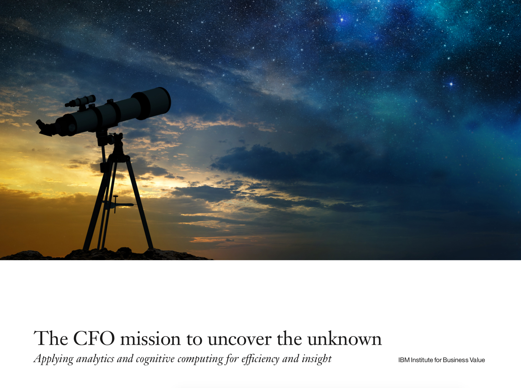 The CFO mission to uncover the unknown