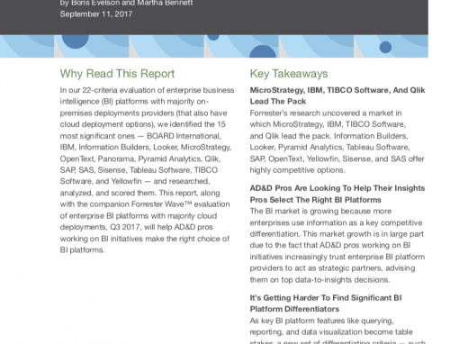The Forrester Wave: Enterprise BI Platforms, Q3 2017