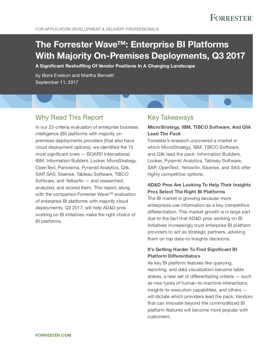 The Forrester Wave: Enterprise BI Platforms, Q3 2017